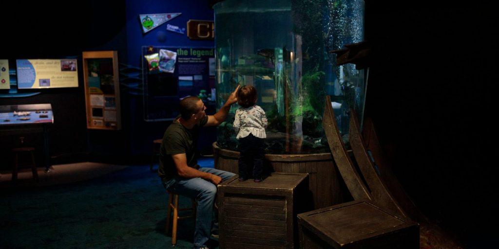 Dad and toddler look at fish at ECHO
