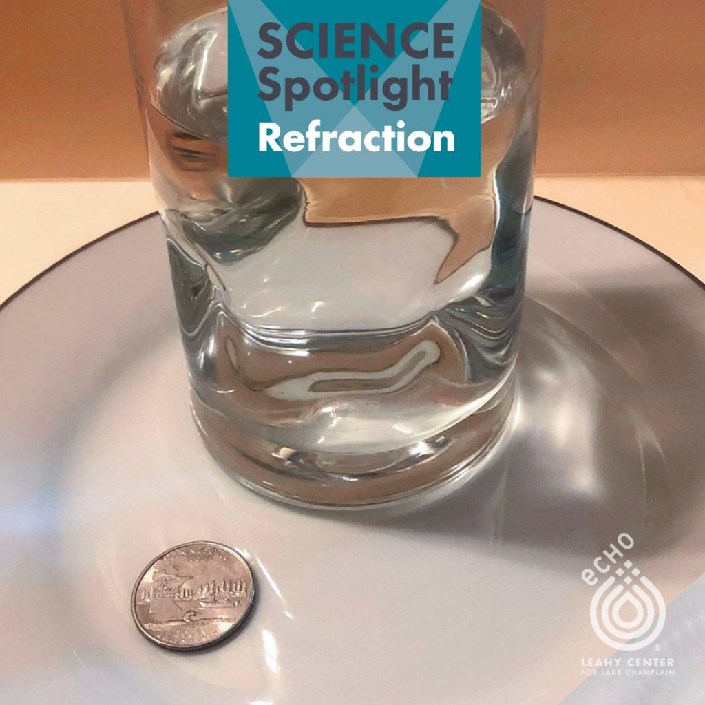 Glass of water and a quarter on a plate--materials to test refraction