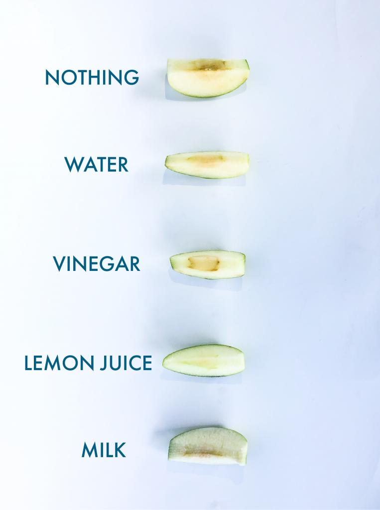 Testing Oxidation in apples with water, vinegar, lemon juice, milk