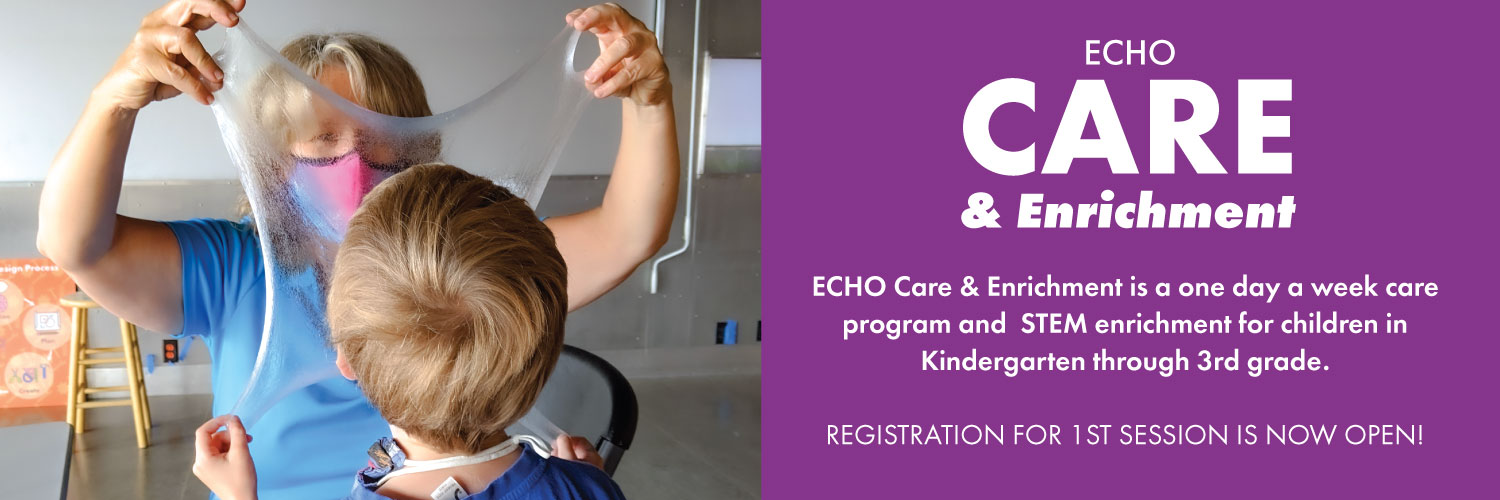 ECHO Care -- enrollment now open. photo of ECHO staff with a child.