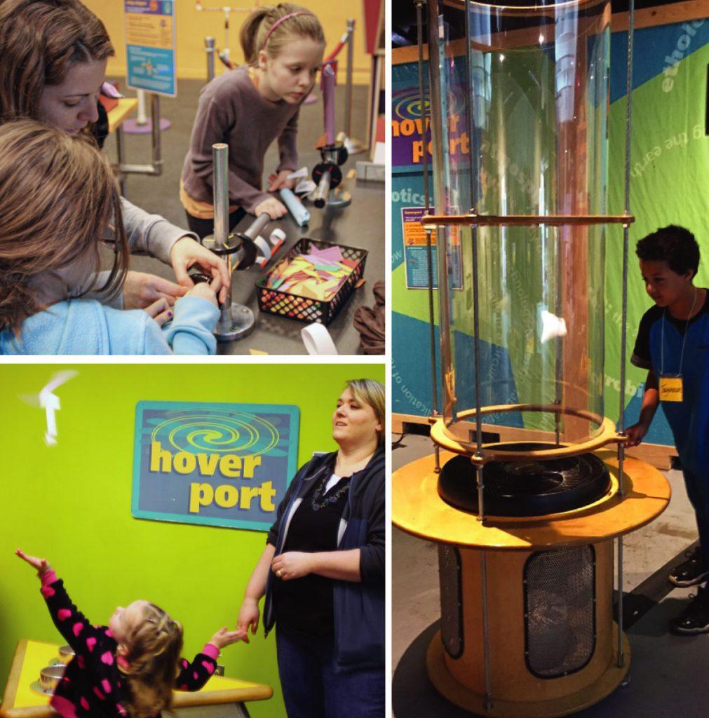 Kids building designing flight machines in the exhibit