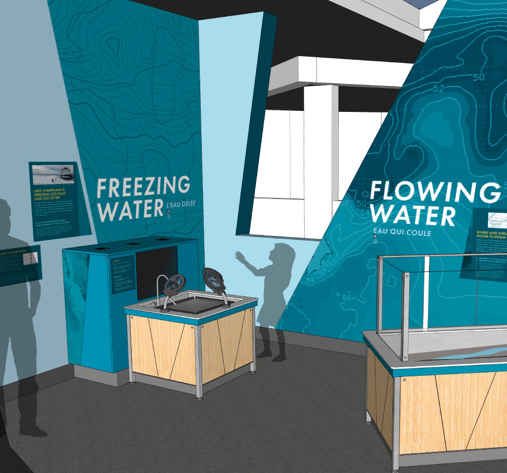 Rendering of Freezing water and flowing water interactives