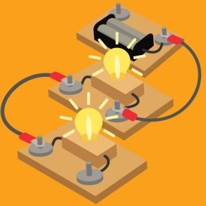 Illustration of a lighbulb being lit up by a series of circuits