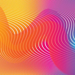 Wavy pattern of sound waves. Colors are gradients from orange to pink and purple