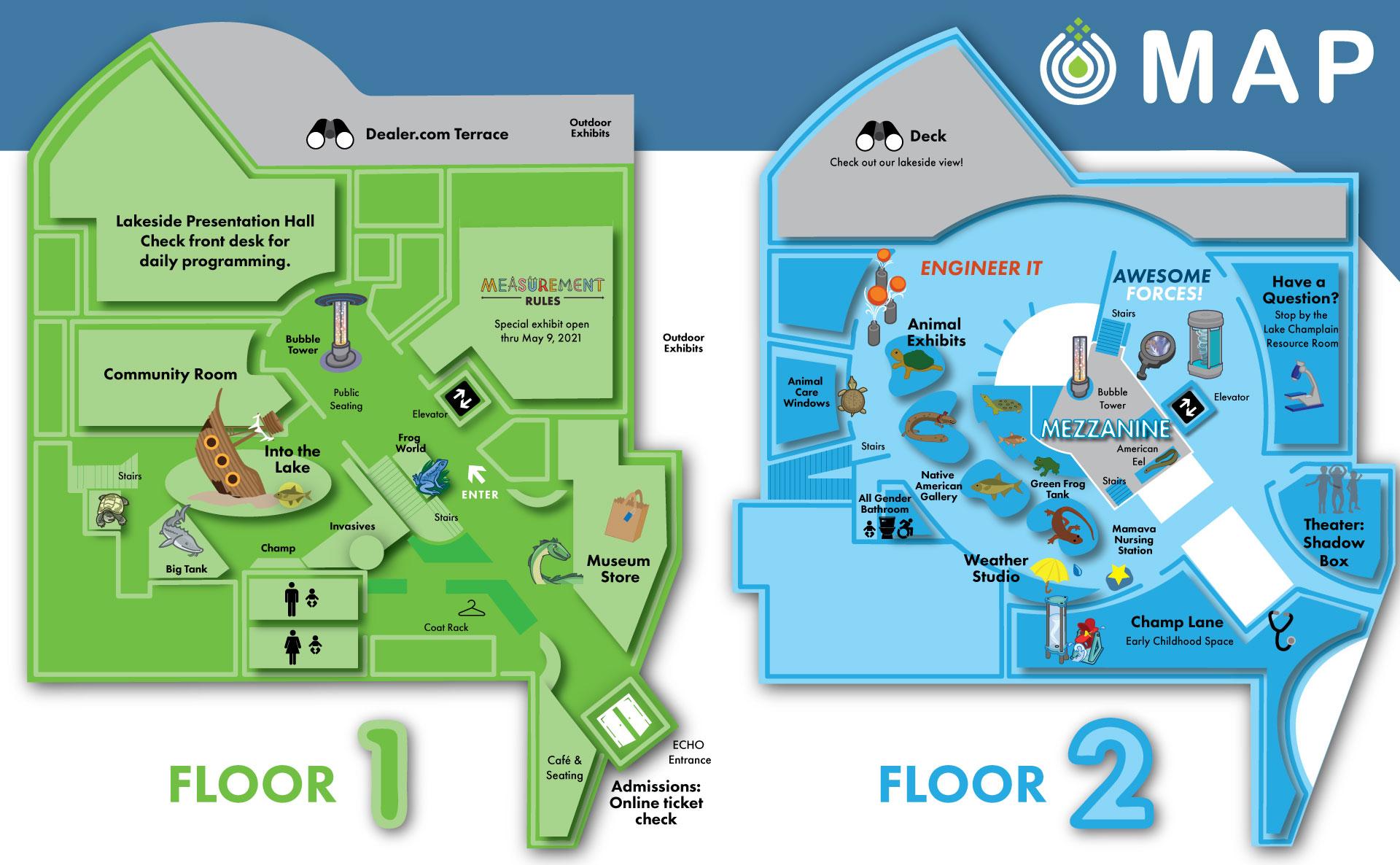 Floor 1 and Floor 2 of ECHO.