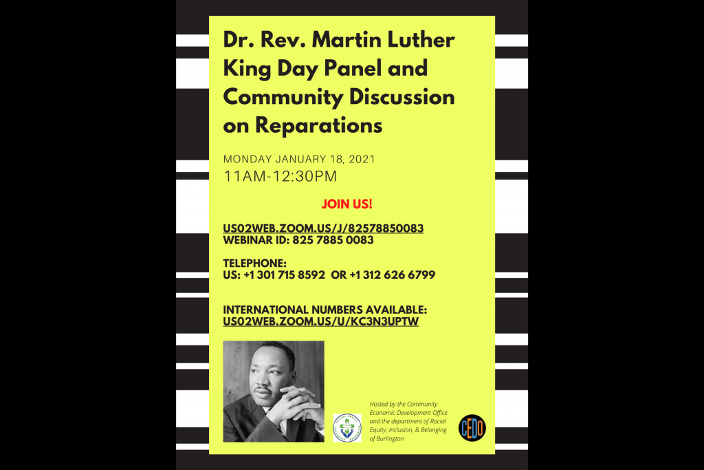 Image with text about the reparations event with yellow background, black and white texture, image of MLK