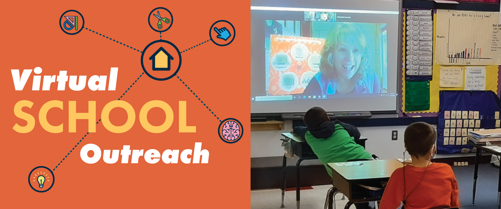 Virtual School Outreach with a photo of ECHO educator on a large screen inside a classroom. ECHO Employee has blond hair and is smiling. 2 kids are in front of the screen at their desks looking on.