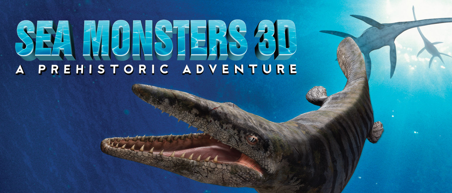Sea Monsters 3D A Prehistoric Adventure movie poster with large mosasaur with large teeth under water.