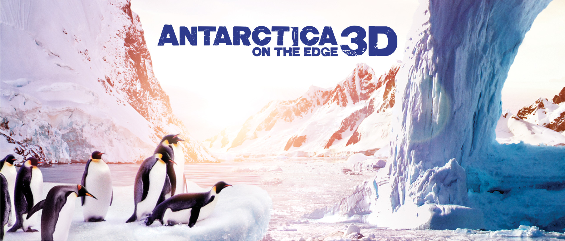 Antarctica 3D movie poster with images of icebergs and penguins