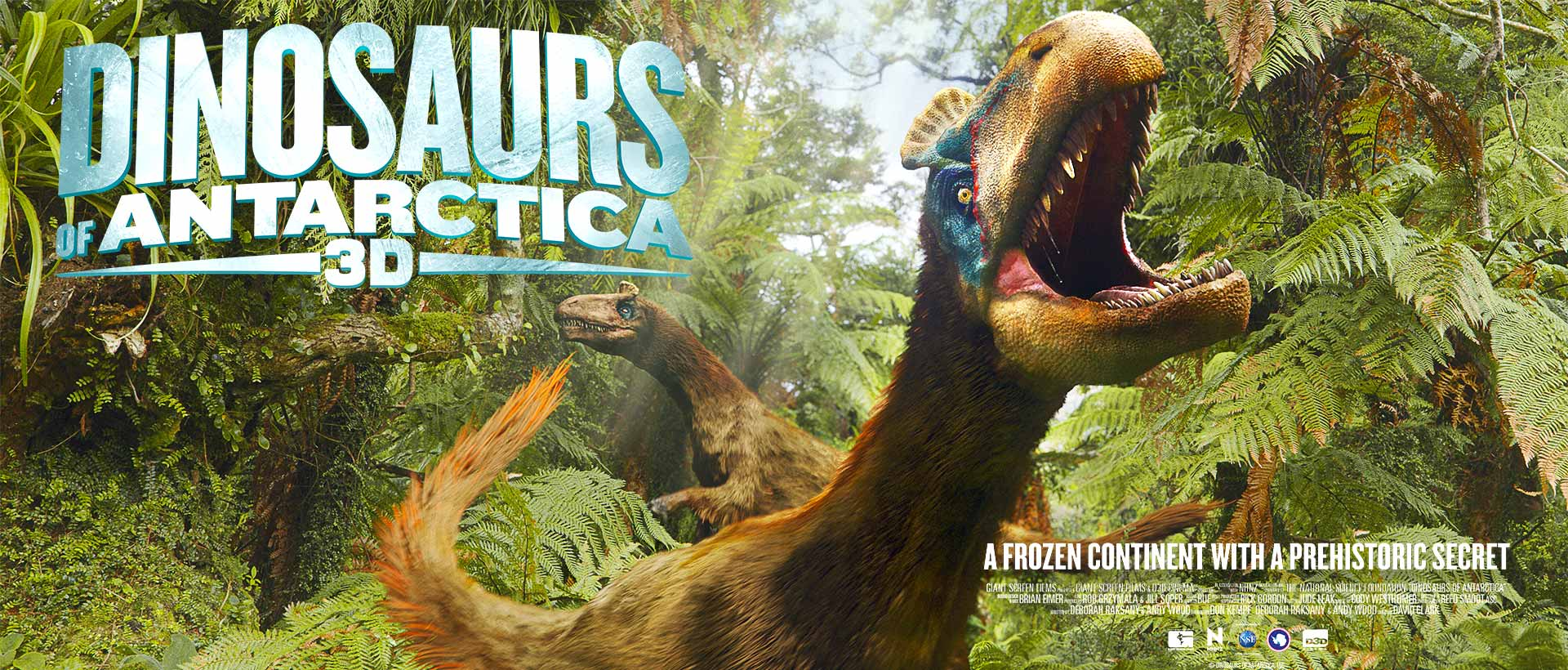 Dinosaurs of Antarctica 3D movie poster with Dino roaring in front of a jungle.