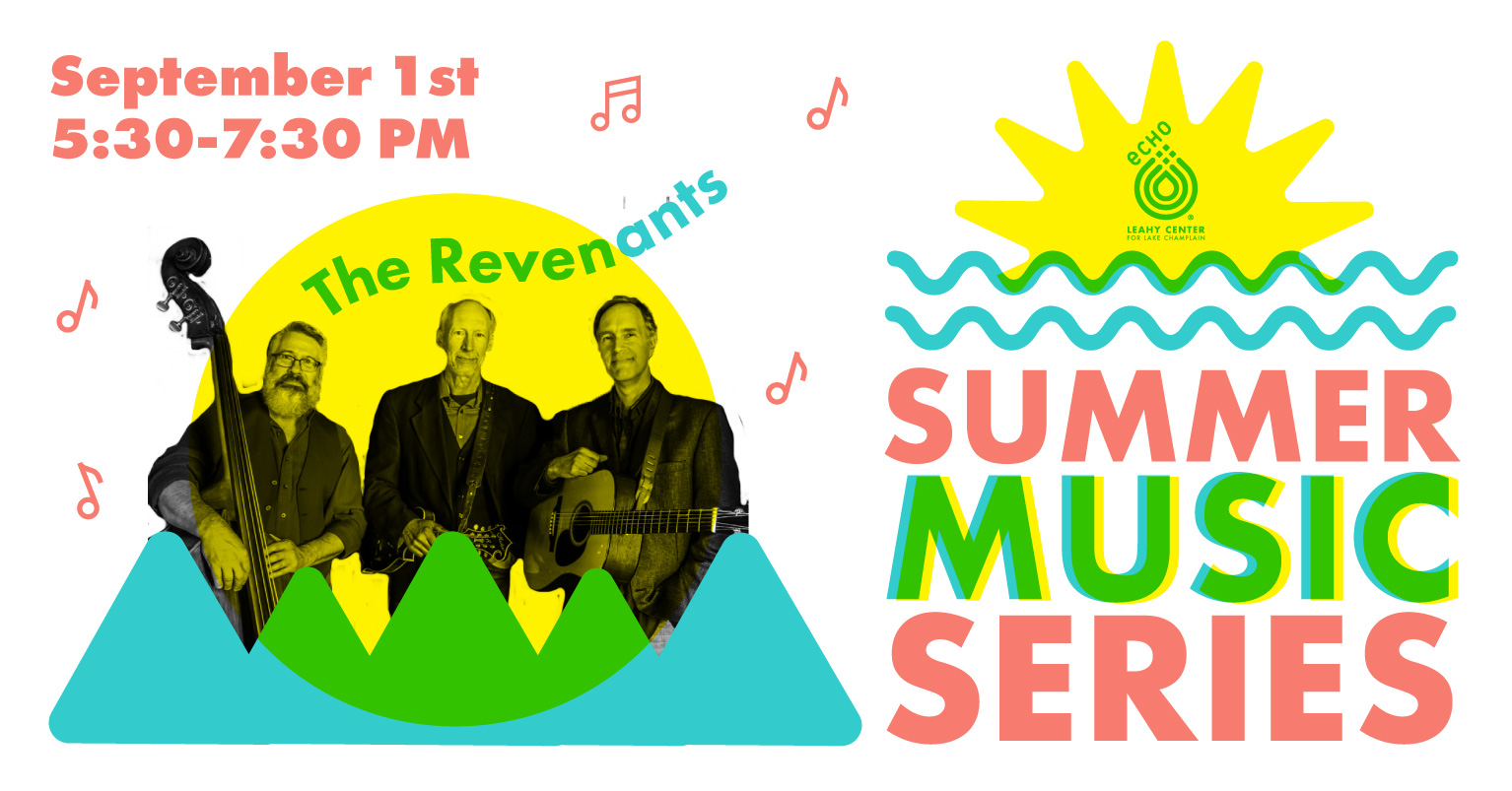 Summer Music Series at ECHO Every Other Wednesday starting June 23. Image of yellow sun, blue green mountains, musician photos in black and white.