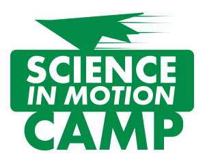 """Graphic in green that says """"Science in Motion Camp"""""""