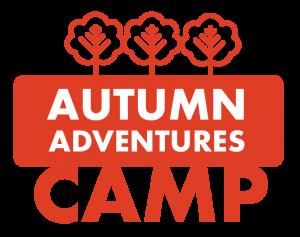 """Graphic in orange that says """"Autumn Adventures Camp"""""""