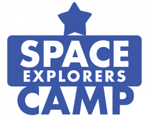 """Graphic in dark blue that says """"Space Explorers Camp"""""""