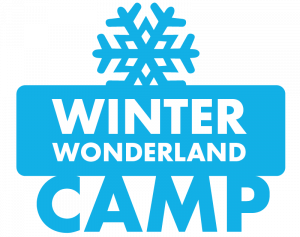 """Graphic in blue that says """"Winter Wonderland Camp"""""""