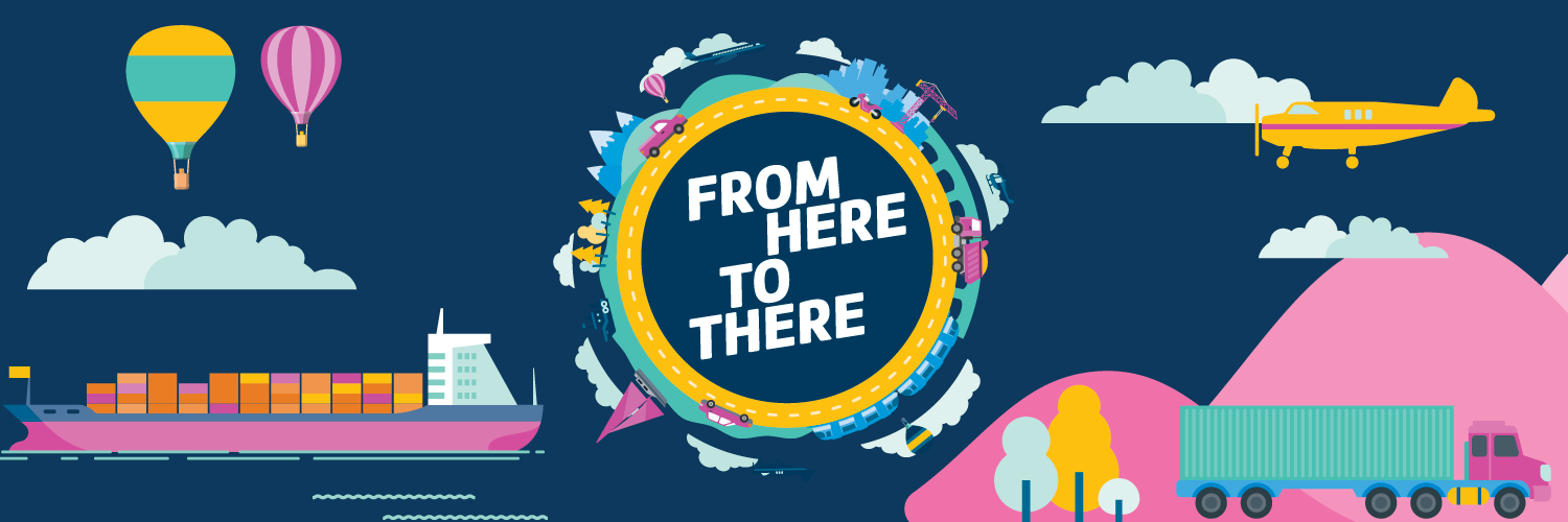 From Here to There title. Bright graphics of hot air balloons, ships, trucks, planes in yellow and pink and blue on a dark blue background.