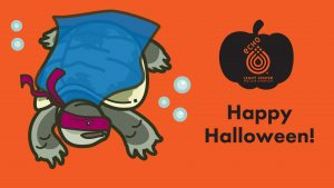 """An illustration of snapping turtle with costume on--mask and blue cape--with the words """"Happy Halloween"""" and ECHO logo."""
